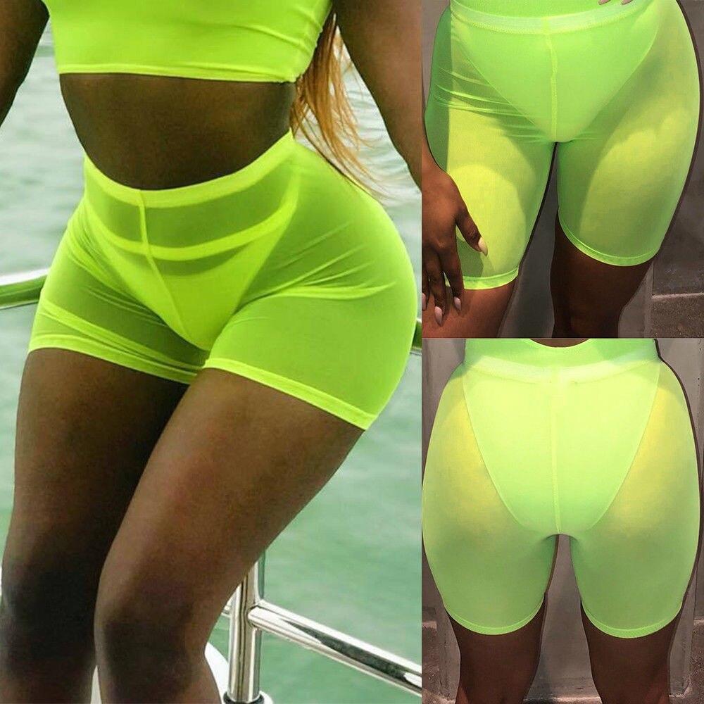 Женские спортивные повседневные пляжные шорты для йоги с высокой талией, шорты для йоги, шорты для волейбола - Цвет: Зеленый