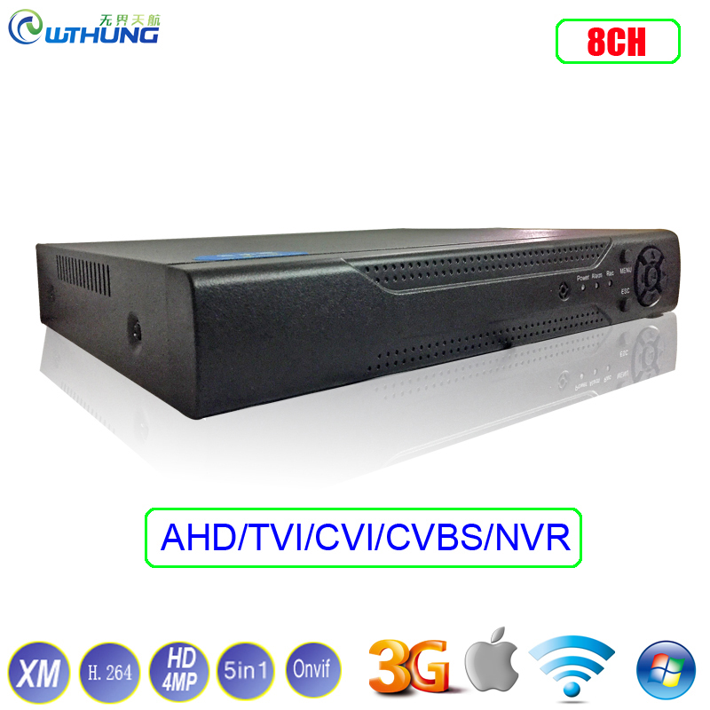 Hybrid TVI CVI IP NVR AHD DVR XMeye Hi3521A 1*SATA 8 Channel 8CH HD 4MP 5-in-1 Coaxial support P2P onvif For Security Camera lussole настольная лампа lussole lsq 6304 01