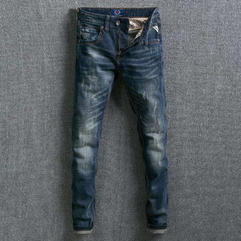 Fashion Classical Men Jeans Slim Fit Dark Blue Color Vintage Design Denim Long Pants Ripped Jeans Homme Streetwear Hip Hop Jeans