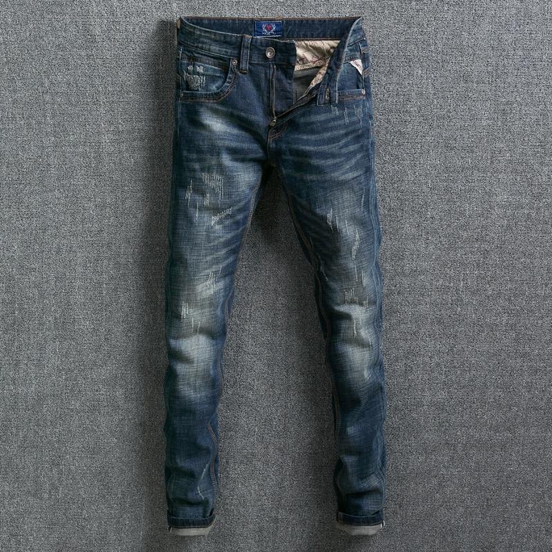 Fashion Classical Men Jeans Slim Fit Dark Blue Color Vintage Design Denim Long Pants Ripped Jeans homme Streetwear Hip Hop Jeans