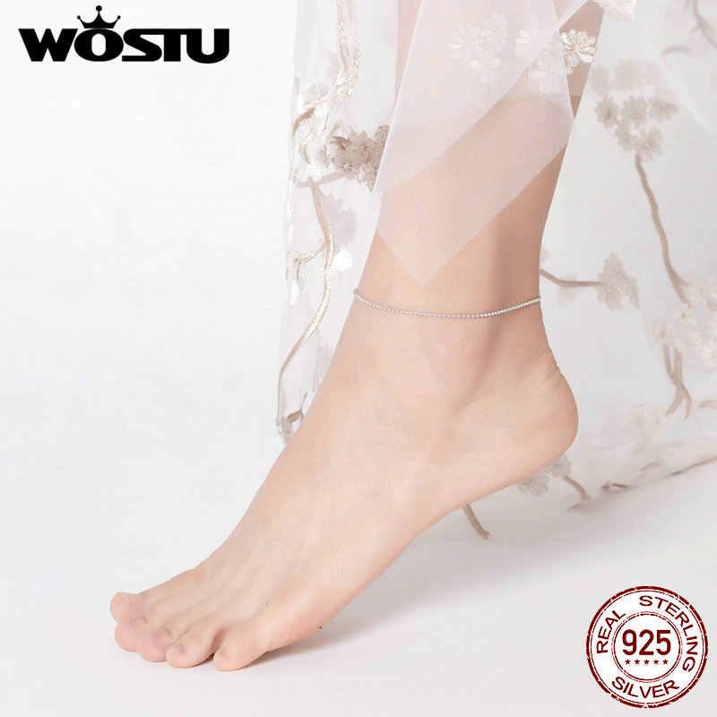WOSTU, простой стиль, босоножки, браслет на ногу, цепочка, 925 пробы, серебро, браслет на ногу, украшенный бисером, ювелирные изделия для женщин, браслеты на ногу, подарки, FIT002