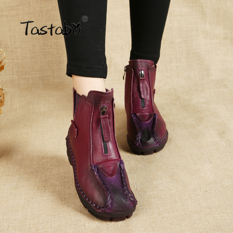 Tastabo Winter Women Boots Genuine Leather Ankle Boots Velvet Handmade Lady Soft Flat Shoes Comfortable Casual Women Shoes цены онлайн