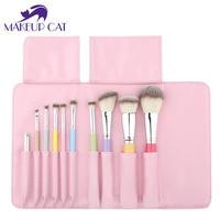 Professional Brand Makeuo Rainbow Brushes 10pcs Set High Quality Synthetic Hair Wood Handle Brush Bag Rainbow