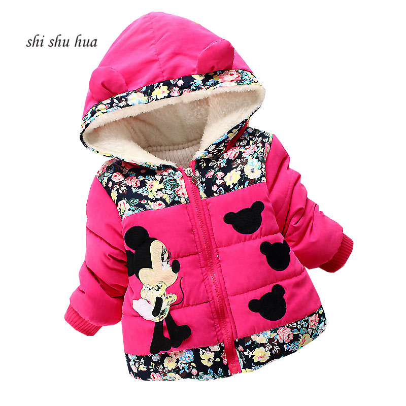 Winter Baby Girl's Clothes Cotton clothes Jacket Beibei Hooded Warm Jacket Thicken Minnie Print 2-4 Years Old Children's Wear round hem button up star print striped jacket page 4
