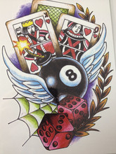 NEW ARRIVAL 21 X 15 CM Balls and cards Temporary Tattoo Stickers Temporary Body Art  Waterproof#136