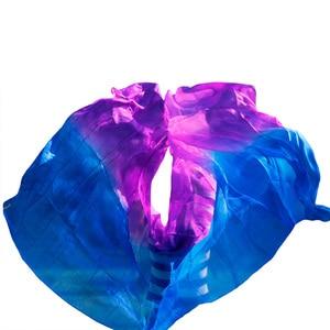 Image 5 - Yeni stil oryantal dans peçe 100% ipek peçe el yapımı kademeli renk peçe özelleştirilebilir