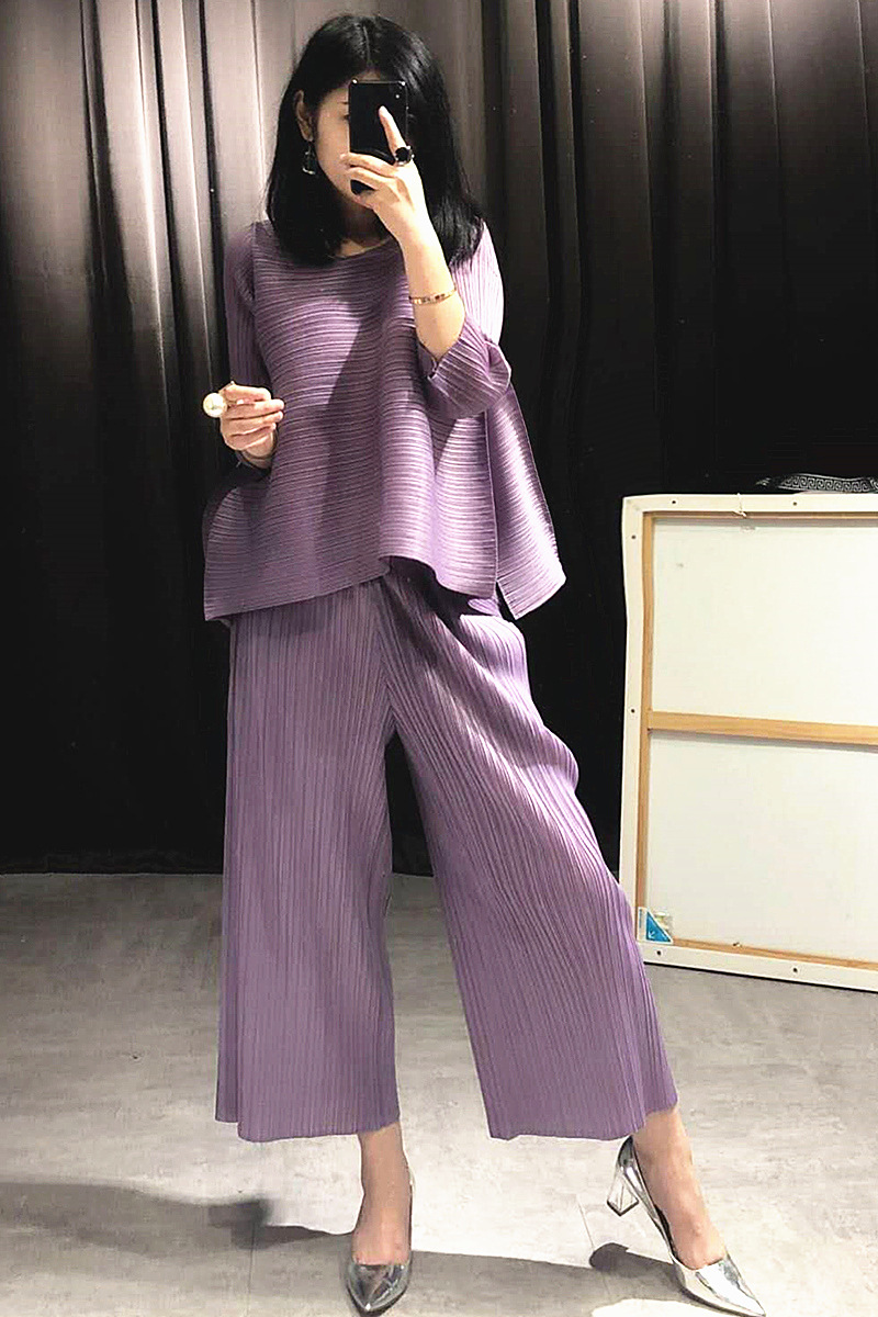 Pleated Fashion New Tidal Summer New Shirts Tops Clothing Sets Wide legged Pleated Pants Suit