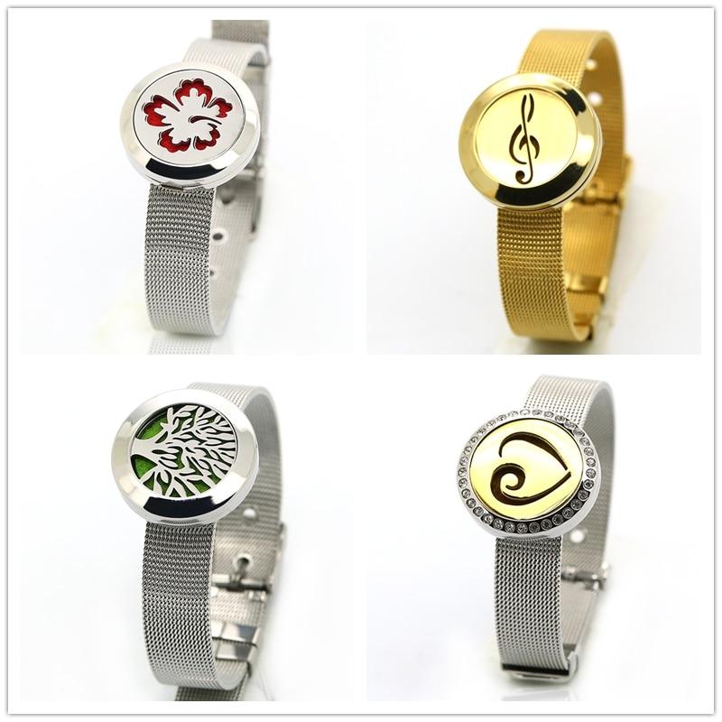 25mm Magnétique En Acier Inoxydable Aromathérapie Médaillon Bracelet Huile Essentielle Diffuseur Médaillon Bracelet Avec Métallique En Acier Bande