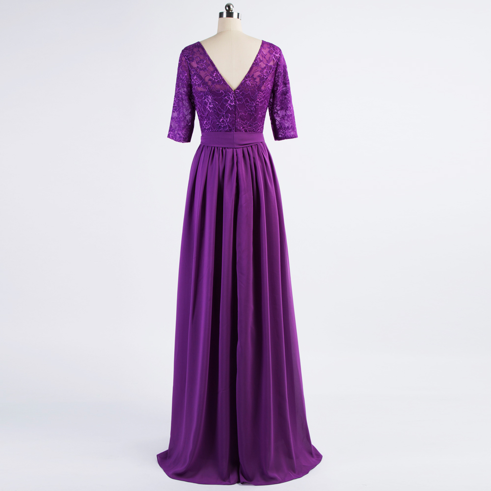 Country Style 2017 Purple Long Bridesmaid Dress with Half Sleeves ...