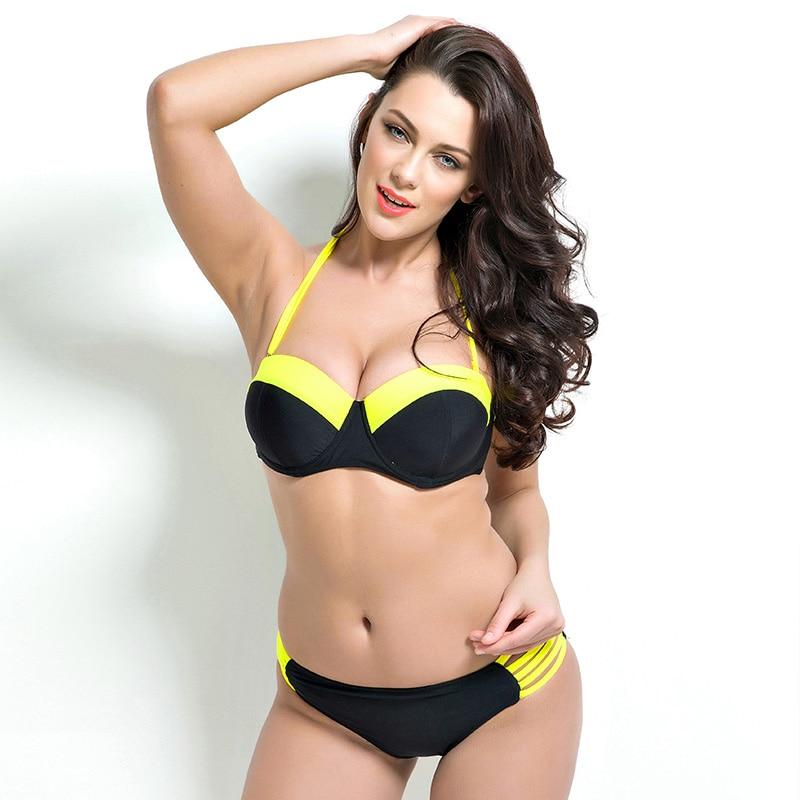 Plus Size Bikinis Women Solid Crop Tops Swimwear 2016 Bandage biquini brazilian Bikini Set Retro Swimsuit Black Bathing Suit