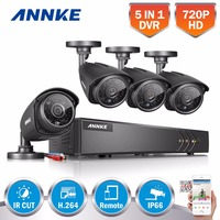 ANNKE 8CH HD 720P TVI CCTV System 1080N DVR 4pcs 1500TVL 720P Outdoor IR Day Night