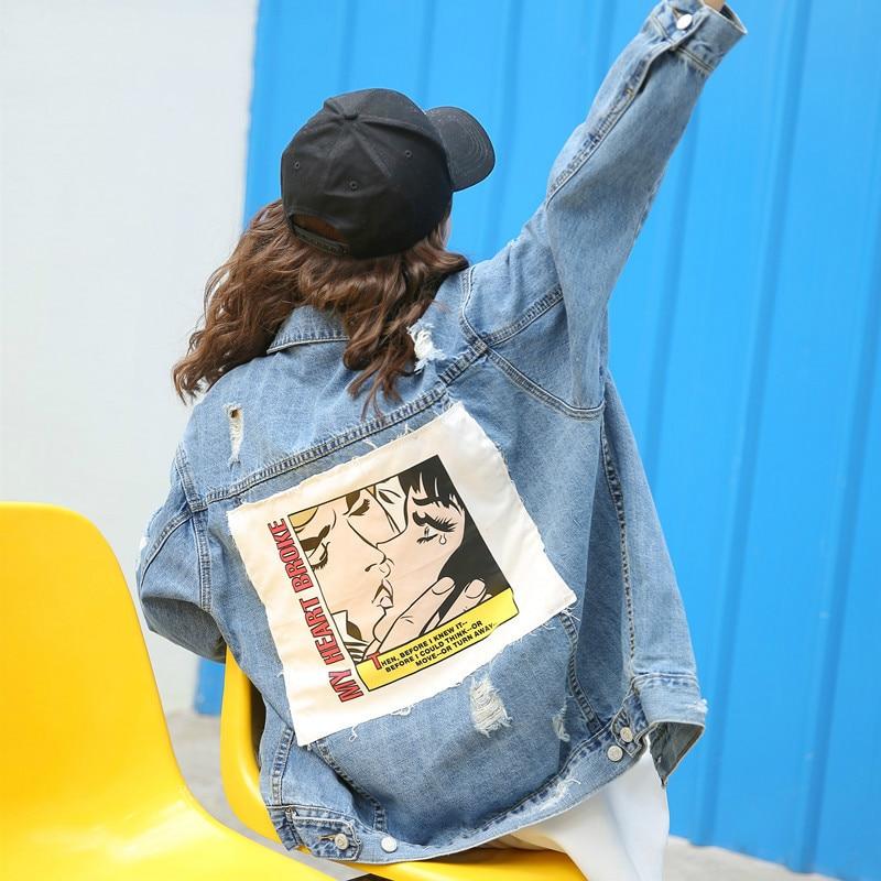 Basic     Jacket   Coats Autumn Winter Women Denim   Jacket   Vintage Frayed Cartoon Print Loose Female Jeans Coat Girls Outwear