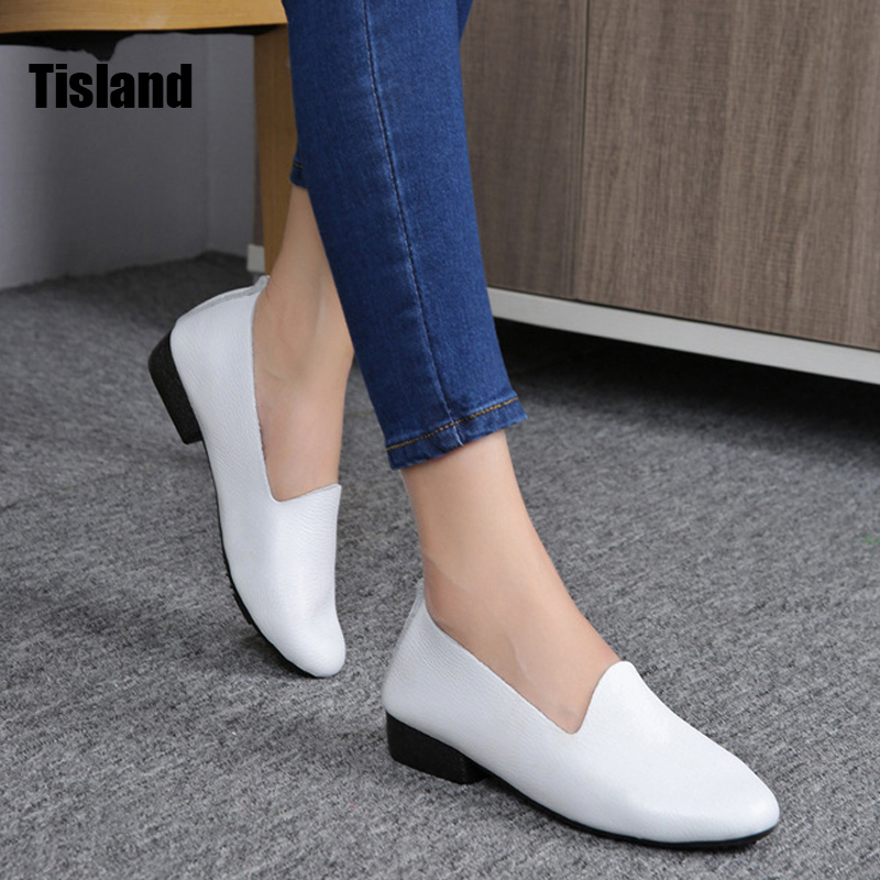 2017 Spring Women Flats Slip On Genuine Leather Oxford Shoes Woman Ballerina Soft Comfortable Flat Shoes Sapato Feminino loafers