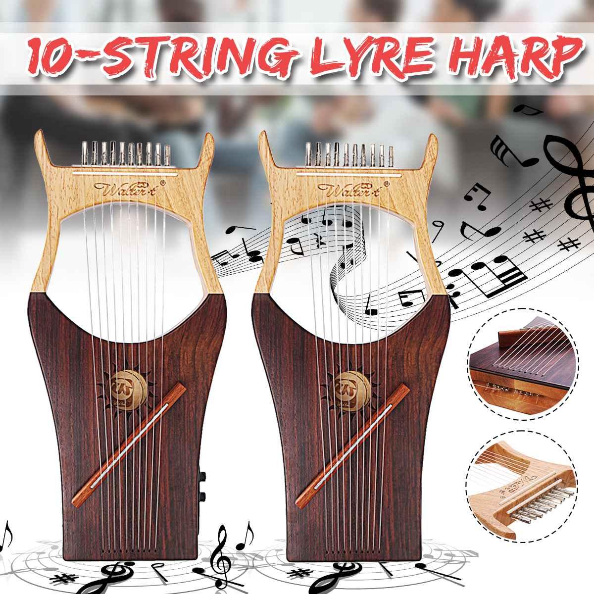 Walter. t 10 String Houten Lier Harp Metalen Snaren Maple Hout Topboard Mahonie Bord String Instrument met Draagtas WH 11 - 2