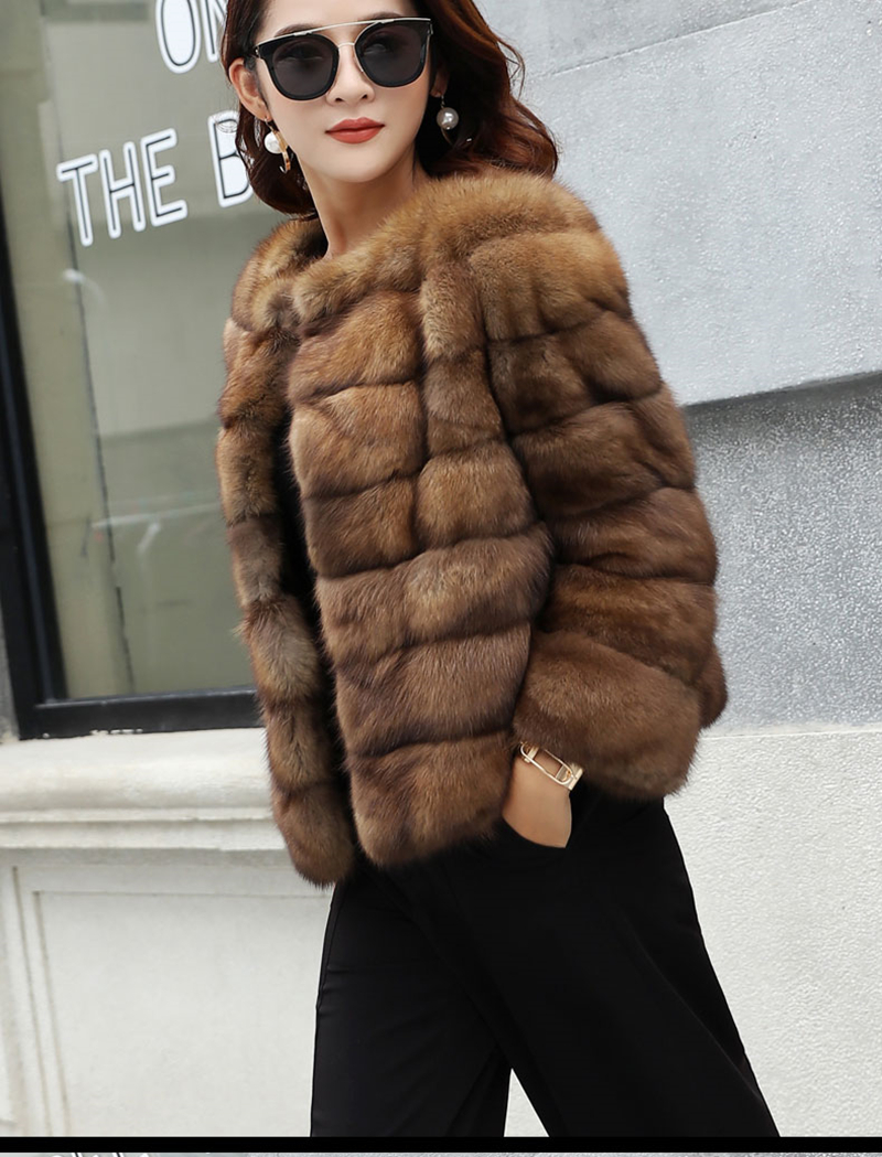 Real Fur Fashion Style Real Sable Whole Mink Fur Women Slim Medium Coat With Hood Martes Zibellina Mink Fur Zipper Jacket Porpular Mink Fur