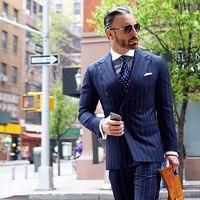 Двубортный Темно синие в полоску Для мужчин костюмы элегантный умный Повседневное уличный костюм Бизнес смокинг Блейзер Куртка жилет брюк