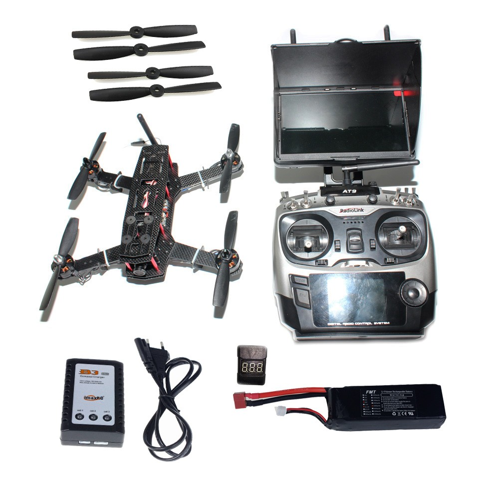 DIY Racer 250 FPV RTF Drone with Racing F3 Flight Controller 5.8G FPV CCD Camera Radiolink AT9 TX&RX Flying Time 13 Min diy rtf racer 190 fpv drone f3 flight controller fs i6 transmitter camera hd monitor rc multicopter helicopter