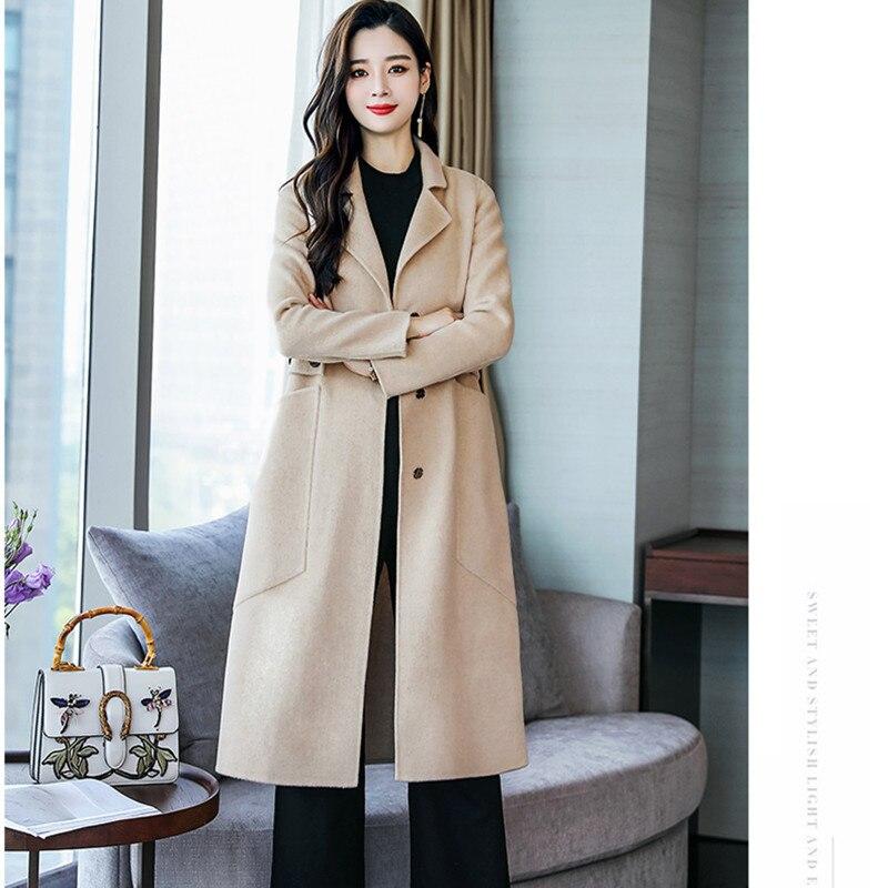 D'hiver kaki Poches La Taille Bureau Plus Manteaux Long Chaud Mode Laine Style Bleu De Élégant Casual Coréen Vintage Femmes Manteau qtfpxgHw4