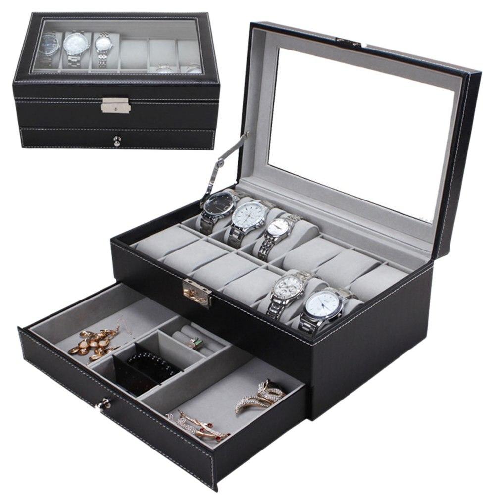 Double couches 12 grilles montre bijoux mixte montre boîte stockage PU cuir montre affichage boîte anneaux boucle d'oreille Bracelet coffret