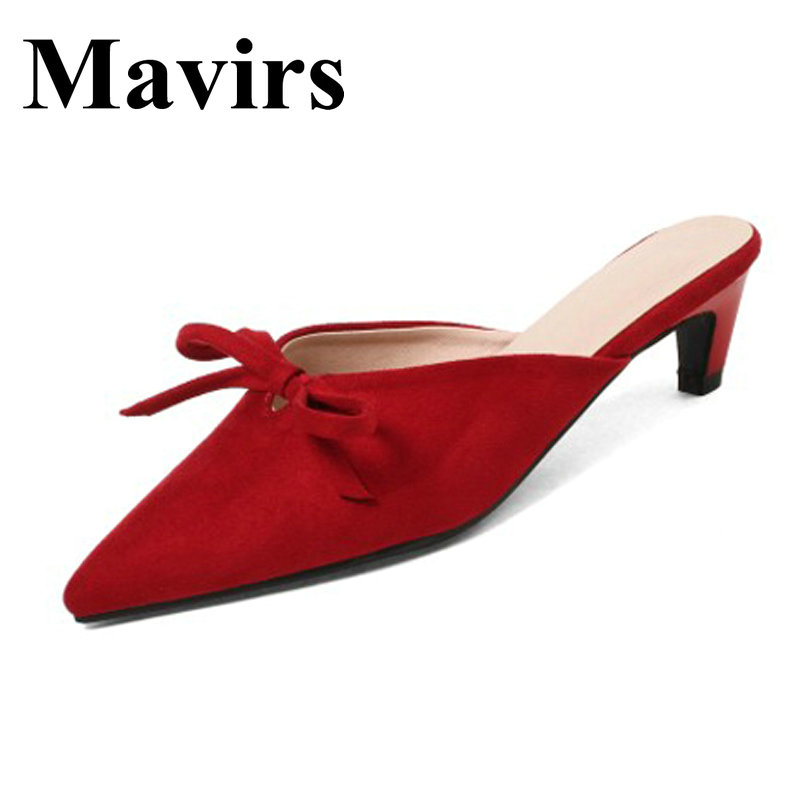 MAVIRS Brand 4CM High Heels Mules 2018 Spring Pointed Toe Stiletto Black Red Pink Women Pumps Shoes EU Size 35-43