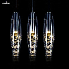 Modern Stainless Steel Fixture led Lights Creative Restaurant Crystal Pendant Lamp For Dining Room Lustres De Teto Luminaire