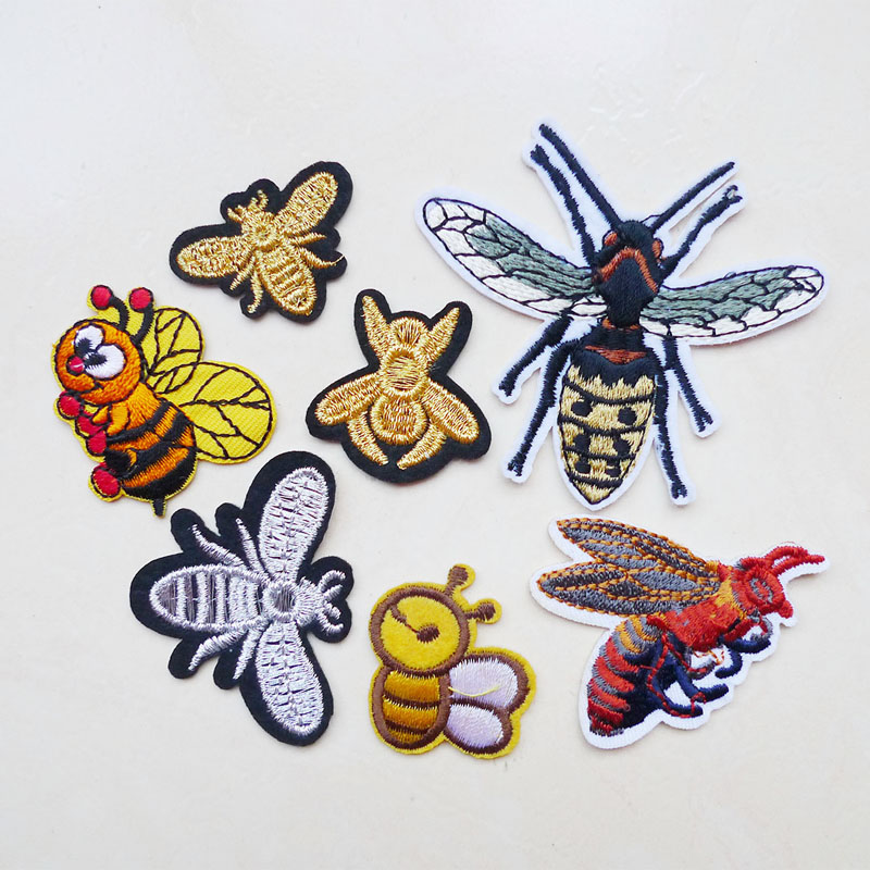 Iron on Bee Ladybug and Buds Bumblebee Bug and Flowers Applique Patch