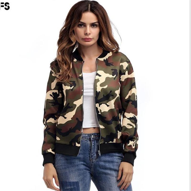 Women Autumn Camouflage bomber   Basic     jacket   women female Baseball coat Casual slim Army Green Streetwear outerwear C068