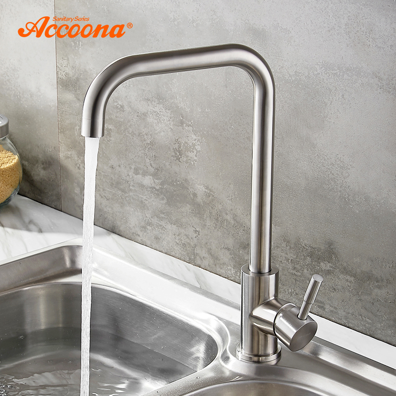 US $30.17 47% OFF|Accoona Stainless steel Kitchen Faucet Single Handle  Single Hole Mixers Sink Tap Wall Brushed Faucet Hot and Cold Water A4490-in  ...