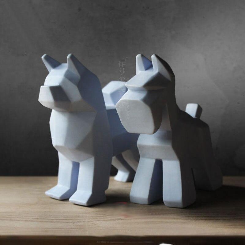 Exquise mignon fait à la main en céramique pour animaux de compagnie chien statue décoration Schnauzer Schnauzer sculpture ameublement