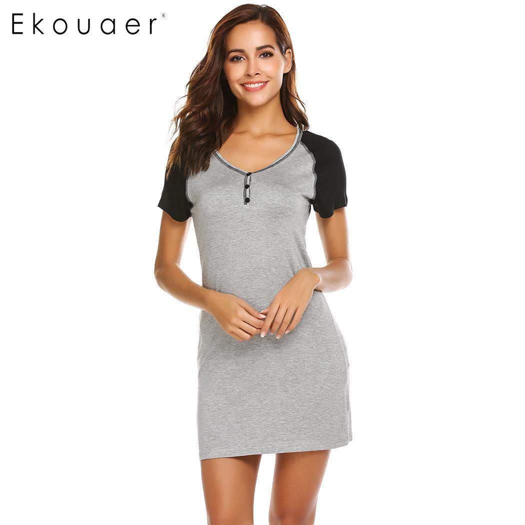 Ekouaer Women Nightgowns Casual Sleepwear Short Sleeve O-Neck Night Dress Sleeping Dress Soft Chemise Sleepshirt Dress Lougewear