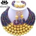 Metal Multicolor de moda de Nigeria Boda perlas africanas joyería conjunto de cristal collar pendientes pulsera Envío gratis Majalia-124