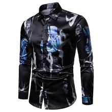 Fashion big Flower New model Shirts Blouse Mens Dress Clothing Slim fit Long-sleeved