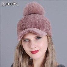 DUOUPA Female fur hats Sheep sheared Cap Knitted Hats For Winter Women  Beanies 2018 fashion Russian 073c66b9adb