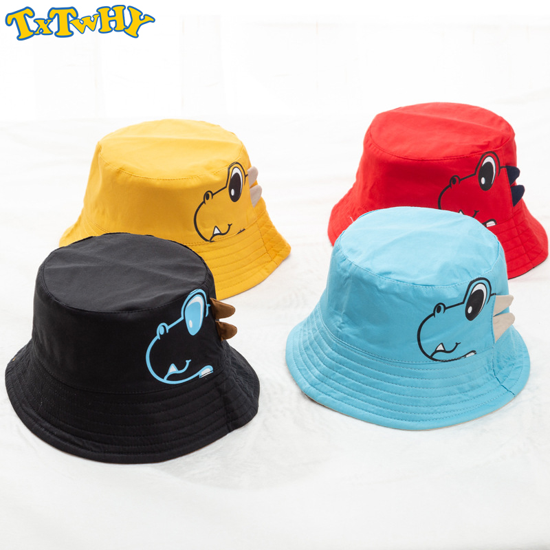 Dinosaur Baby Hat Cotton Double-sided Bucket Hat Baby Spring Autumn Cap Kids Hats Toddler Baby Accessories 1PC