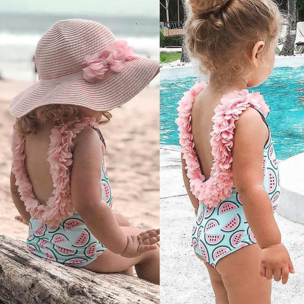Swimwear Girl Kids Baby Girl Beach Swimsuit Bathing Swimwear Children's Sleeveless Watermelon Print Petal Lace Swimsuit A1