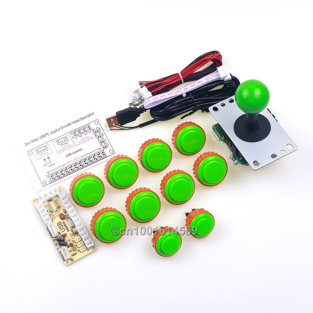 Zero Delay USB PC Encoder Board + 2 x Sanwa Button OBSN-24 Buttons + 8 x Sanwa OBSN-30 Push Button + Arcade Rocker To MAME Games