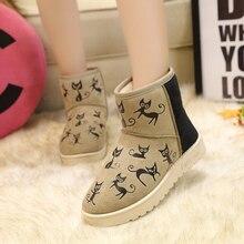 SOUGEN Cartoon Women Boots Snow Boots 2016 New Plush Super Warm Flat Heel Ladies Short Ankle Boots For Women Winter Shoes