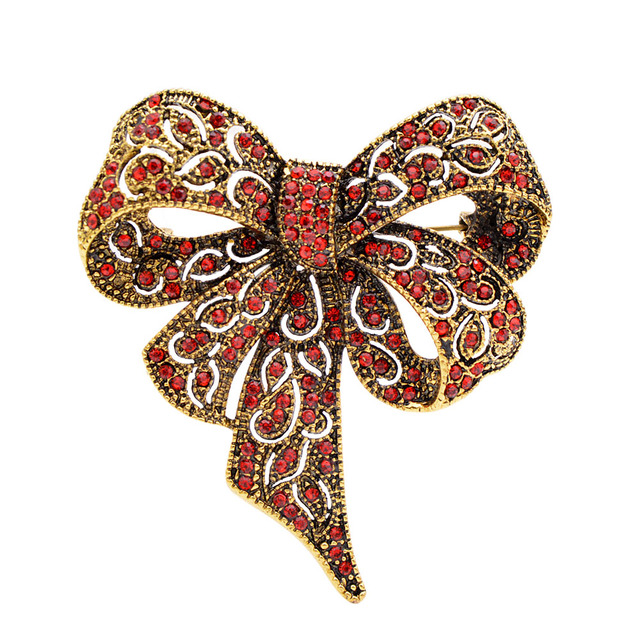 Black Color Rhinestone Bow Brooches for Women Large Bowknot Brooch Pin Vintage Fashion Jewelry Winter Accessories
