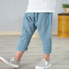 new 2-7y 2016 summer solid color linen pleated children knee-length pants for baby boys girls pants harem pants for kids child