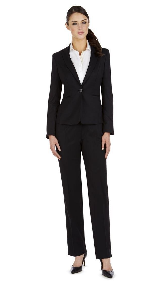 Новый модный стиль изготовление под заказ 100% шерсть черный ПР одной кнопки лацкан с тупым углом изготовление под заказ женские костюм