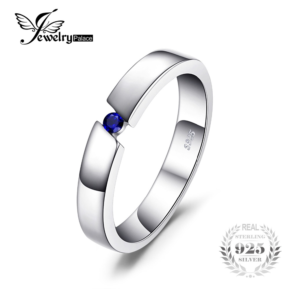 JewelryPalace 0.04ct Created Sapphire Anniversary Solitaire Ring 925 Sterling Silver Fine Jewelry For Women Gift For LoversJewelryPalace 0.04ct Created Sapphire Anniversary Solitaire Ring 925 Sterling Silver Fine Jewelry For Women Gift For Lovers