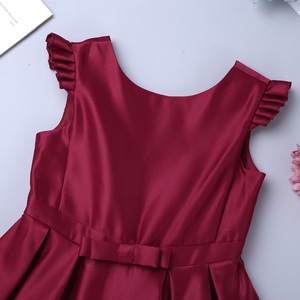 Image 4 - New Arrival Girls Satin Ruffled Fly Sleeves Bowknot Flower Girl Dress Princess Pageant Wedding Bridesmaid Birthday Party Dress