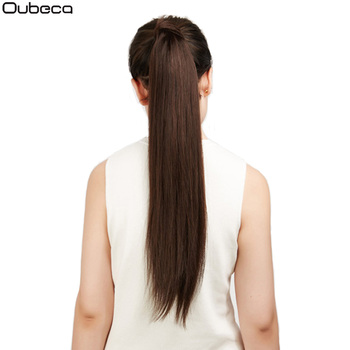 Klamra z włókna syntetycznego Oubeca prosto przedłużanie kucyka długi gruby koński ogon włosy włosy doczepiane Clip In dla kobiet