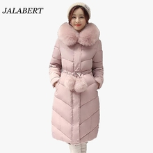 2016 women large fur collar long sections Slim Down padded jacket female winter weatherization waist ladies coat with fur ball