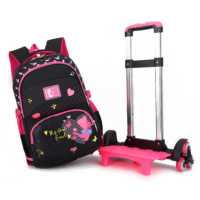 d0bb394303 Stylish Princess Style Girls Children School Bags With 2 6 Wheels Trolley  Backpack Gift Girls Removable Trolley Children Bag