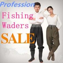 PVC Breathable Fishing Waders Pant + Shoes Waterproof Fishing Wading Pants Breathable Rafting Wear Stocking Foot Fishing Waders