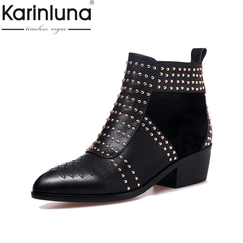 KARINLUNA Large Size 33-43 Genuine Leather Black Rivets Women Shoes Woman Fashion Square Heels Martin Boots Chelsea Bottine