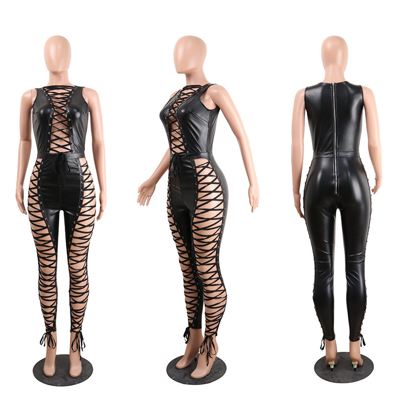 Side Lace Up Sexy Party Jumpsuit Hollow Out Nightclub 5