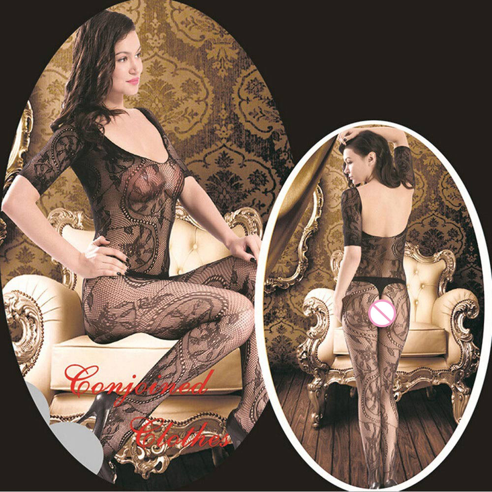 Sexy Lingerie Lace Black Temptation Perspective Sexy Hollow Out Transparent Backless Tight Costume Siamese Women font