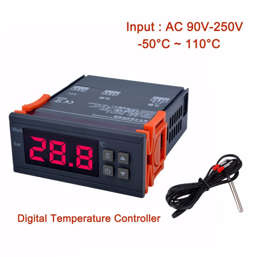 цена MH1210W Digital Temperature Controller -50~110 Celsius Degree Thermocouple Thermostat Refrigeration Heating Regulator